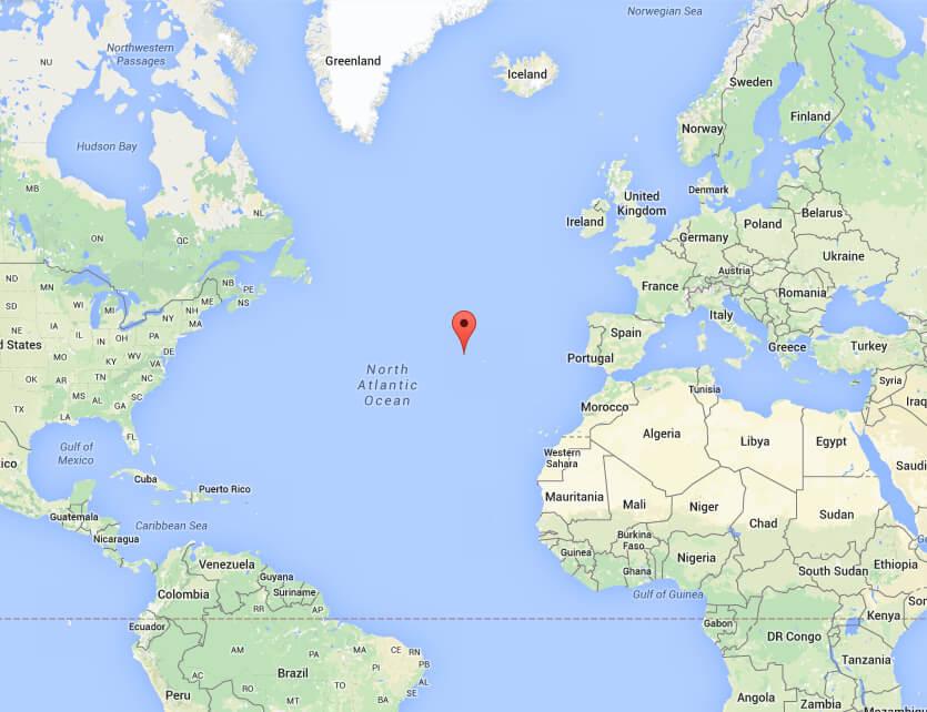kaart zeilen naar Azoren